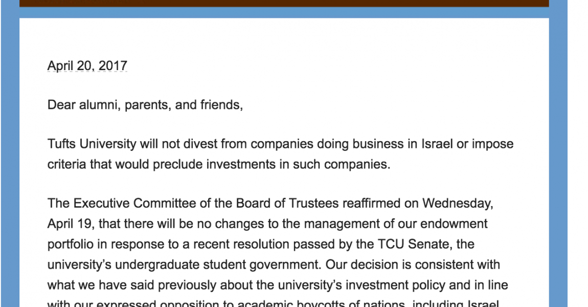 Tufts University Board of Trustees Unequivocally Rejects Divestment from Israel
